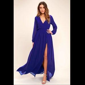 Lulu's Wondrous Waterlilies Royal Blue Maxi dress